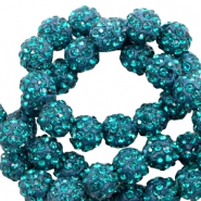 Rhinestone beads 10 mm Teal Blue