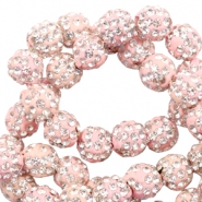 Rhinestone beads 6mm Light Pink