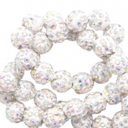 Rhinestone beads 10 mm White-AB