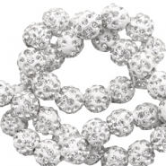 Rhinestone beads 8mm White-Silver