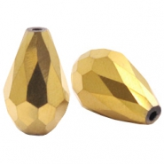 Top faceted drop beads 10x15mm Gold
