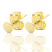 DQ European metal findings earpin round 4mm Gold (nickel free)