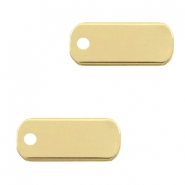 DQ European metal charms tag oblong 5x12mm Gold shiny (nickel free)