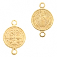 DQ European metal charms connector Jesus 12mm Gold (nickel free)