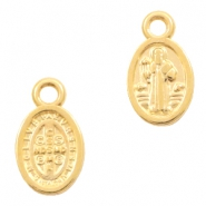 DQ European metal charms Jesus oval 8x11mm Gold (nickel free)
