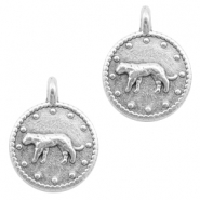 DQ European metal charms leopard round 12mm Antique Silver (nickel free)