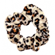 Scrunchie velvet hair tie Leopard Black-beige