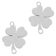 Stainless steel charms connector clover Silver