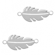 Stainless steel charms connector feather Silver
