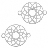 Stainless steel charms connector mandala 15mm Silver