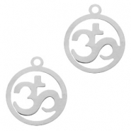 Stainless steel charms Ohm 15mm Silver
