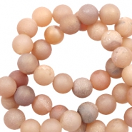 6 mm natural stone beads agate Light Nude Brown Metallic