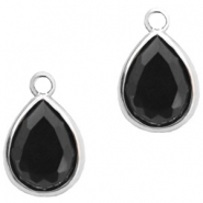 Crystal glass charms drop 6x8mm Jet Black-Silver