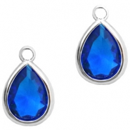Crystal glass charms drop 6x8mm Cobalt Blue Crystal-Silver