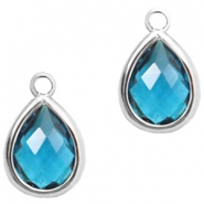 Crystal glass charms drop 6x8mm Indicolite Blue Crystal-Silver
