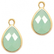 Crystal glass charms drop 6x8mm Green Opal-Gold