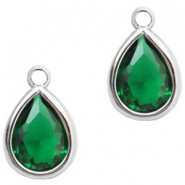 Crystal glass charms drop 6x8mm Classic Green Crystal-Silver