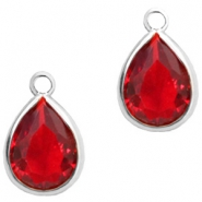 Crystal glass charms drop 6x8mm Siam Red Crystal-Silver