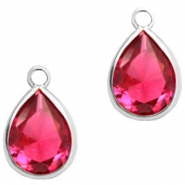 Crystal glass charms drop 6x8mm Indian Pink Crystal-Silver