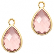 Crystal glass charms drop 6x8mm Vintage Pink Crystal-Gold