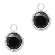 Crystal glass charms round 6mm Jet Black-Silver