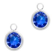 Crystal glass charms round 6mm Cobalt Blue Crystal-Silver