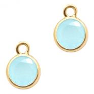 Crystal glass charms round 6mm Blue Opal-Gold