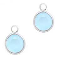 Crystal glass charms round 6mm Blue Opal-Silver