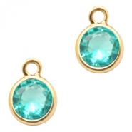Crystal glass charms round 6mm Emerald Blue Zircon Crystal-Gold