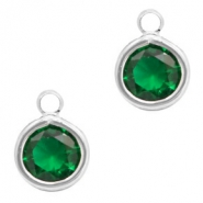 Crystal glass charms round 6mm Classic Green Crystal-Silver