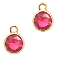Crystal glass charms round 6mm Indian Pink Crystal-Gold
