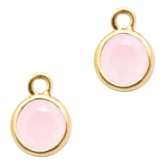 Crystal glass charms round 6mm Rose Opal-Gold