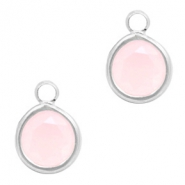 Crystal glass charms round 6mm Rose Opal-Silver