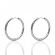 Stainless Steel earrings creole 20mm Silver