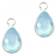 Crystal glass charms drop 12x6mm Light Turquoise Blue-Silver