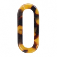 Resin pendants links oval 38x17mm Cognac-Brown