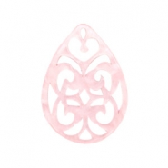 Resin pendants drop baroque 38x27mm Powder Pink