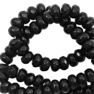 6 mm natural stone faceted beads disc Black