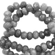 8 mm natural stone faceted beads disc Dark Grey