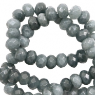4 mm natural stone faceted beads disc Dark Grey