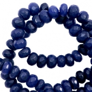 8 mm natural stone faceted beads disc Dark Blue