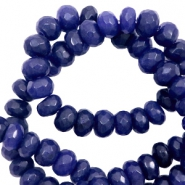 4 mm natural stone faceted beads disc Dark Blue