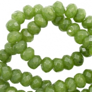 8 mm natural stone faceted beads disc Olive Green