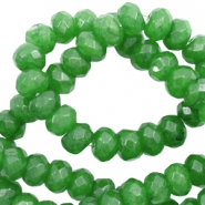 4 mm natural stone faceted beads disc Olivine Green