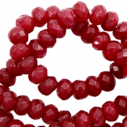 4 mm natural stone faceted beads disc Warm Deep Red