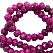 6 mm natural stone faceted beads disc Dark Fuchsia Pink