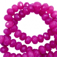 4 mm natural stone faceted beads disc Fuchsia Pink