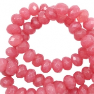 6 mm natural stone faceted beads disc Vintage Dark Coral Red