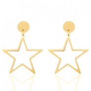 Stainless steel earrings star Gold