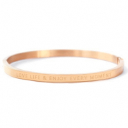 "Stainless steel bracelets ""LOVE LIFE AND ENJOY EVERY MOMENT"" Rose Gold"